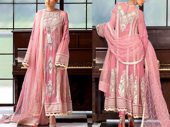 Embroidered Pink Chiffon Maxi Dress (DZ13621)