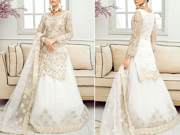 Akbar Aslam Replica Embroidered Organza Bridal Lehenga Dress (DZ13622)
