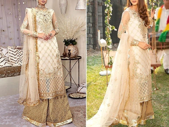 Embroidered Net Bridal Dress (DZ13624)