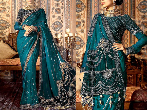 Maria B Replica Handwork Embroidered Chiffon Saree (DZ13639)
