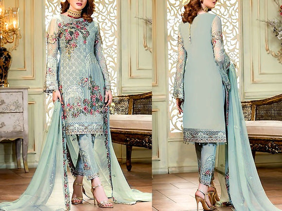Ramsha Replica Embroidered Formal Chiffon Wedding Dress (DZ13642)