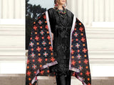 Embroidered Black Chiffon Dress with Phulkari Embroidered Dupatta (DZ13644)