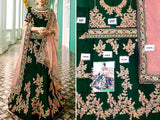 Indian Heavy Embroidered Green Chiffon Maxi Dress (DZ13645)