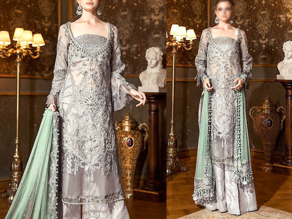 Heavy Embroidered Net Bridal Dress (DZ13650)