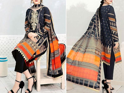 Embroidered Black Lawn Dress with Chiffon Dupatta (DZ13653)