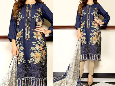 Embroidered Lawn Dress with Chiffon Dupatta (DZ13654)