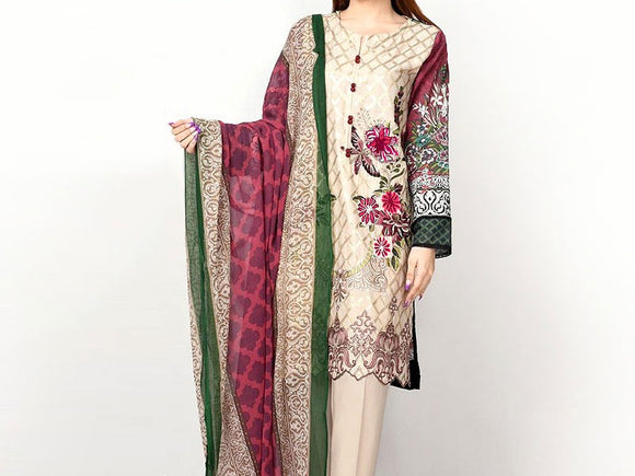Embroidered Lawn Dress with Chiffon Dupatta (DZ13667)
