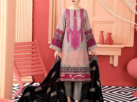 Embroidered Lawn Suit with Chiffon Dupatta (DZ13681)