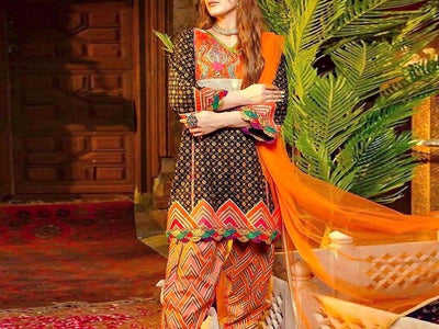 Traditional Style Embroidered Lawn Suit with Chiffon Dupatta (DZ13683)