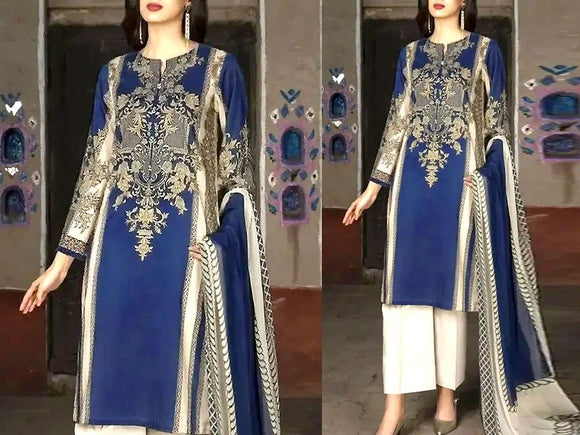 Embroidered Lawn Dress with Chiffon Dupatta (DZ13685)