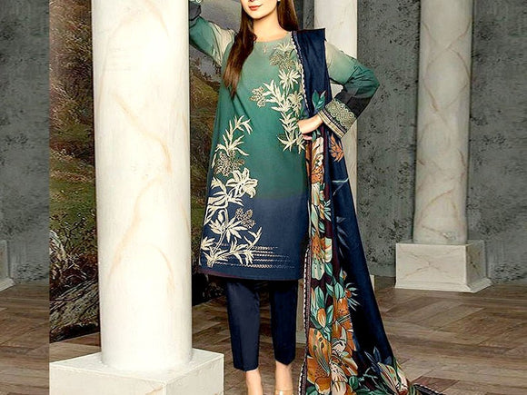 Embroidered Lawn Suit with Chiffon Dupatta (DZ13686)