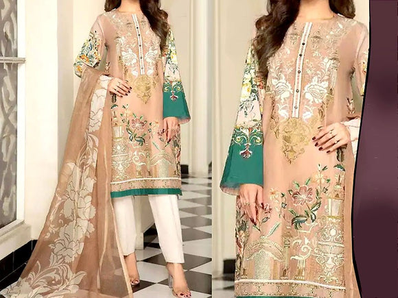 Embroidered Lawn Dress with Chiffon Dupatta (DZ13697)