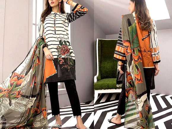 Embroidered Lawn Dress with Chiffon Dupatta (DZ13698)