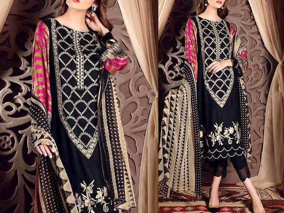 Embroidered Lawn Dress with Chiffon Dupatta (DZ13703)