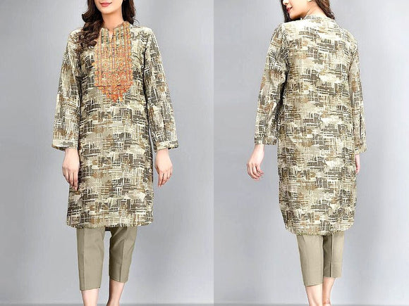 Embroidered Lawn Dress with Chiffon Dupatta (DZ13704)