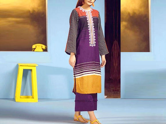 Embroidered Lawn Dress with Chiffon Dupatta (DZ13705)