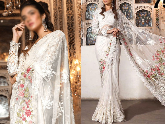 Heavy Embroidered White Net Saree (DZ13708)
