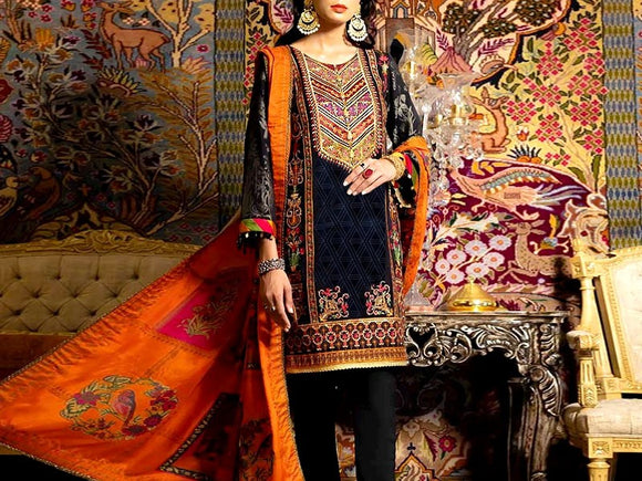 Embroidered Lawn Dress with Chiffon Dupatta (DZ13725)