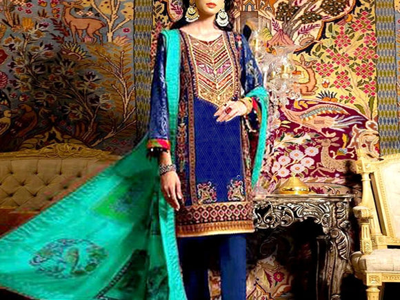 Embroidered Lawn Dress with Chiffon Dupatta (DZ13726)