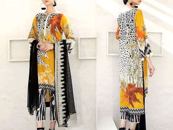 Embroidered Lawn Dress with Chiffon Dupatta (DZ13729)