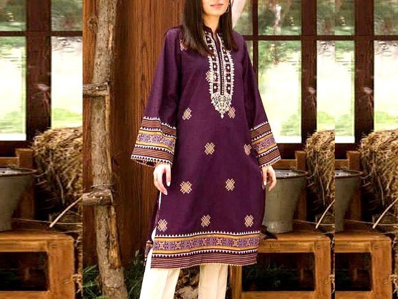 Embroidered Lawn Dress with Chiffon Dupatta (DZ13735)