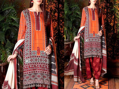 Embroidered Lawn Dress with Chiffon Dupatta (DZ13736)