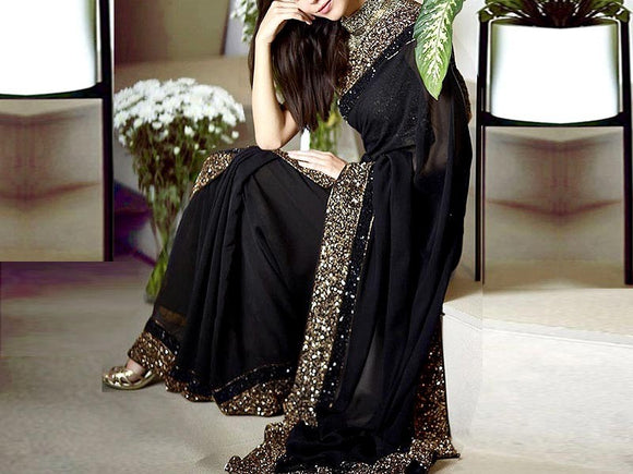 Sequins Work Embroidered Black Chiffon Saree (DZ13737)