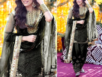 Embroidered Organza Black Wedding Dress (DZ13746)