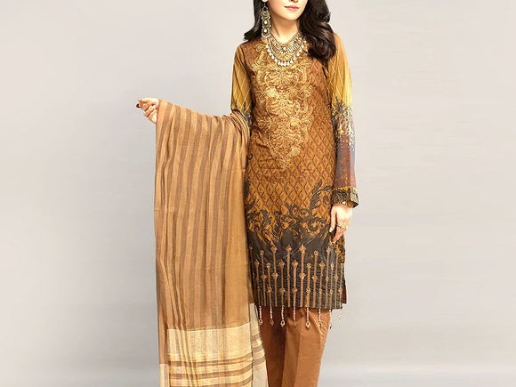 Embroidered Lawn Dress with Chiffon Dupatta (DZ13747)