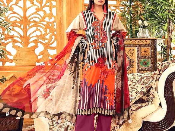 Embroidered Lawn Dress with Chiffon Dupatta (DZ13748)