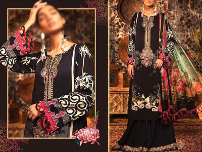 Embroidered Swiss Lawn Dress with Lawn Dupatta (DZ13749)