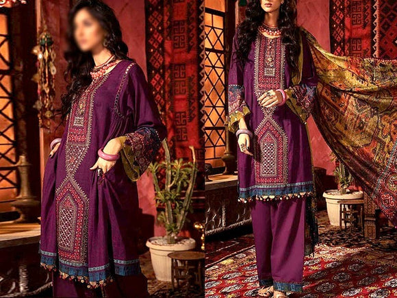 Embroidered Swiss Lawn Suit with Lawn Dupatta (DZ13751)