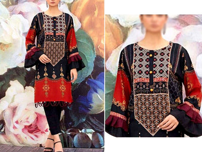 Embroidered Black Lawn Suit with Chiffon Dupatta (DZ13757)