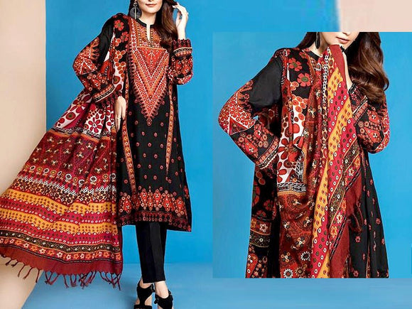 Embroidered Black Lawn Dress with Chiffon Dupatta (DZ13758)
