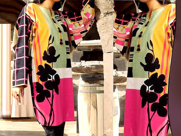 Embroidered Lawn Suit with Chiffon Dupatta (DZ13759)