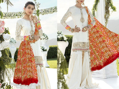 Embroidered White Lawn Dress with Chiffon Dupatta (DZ13760)