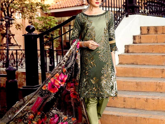 Heavy Embroidered Lawn Dress with Chiffon Dupatta (DZ13762)