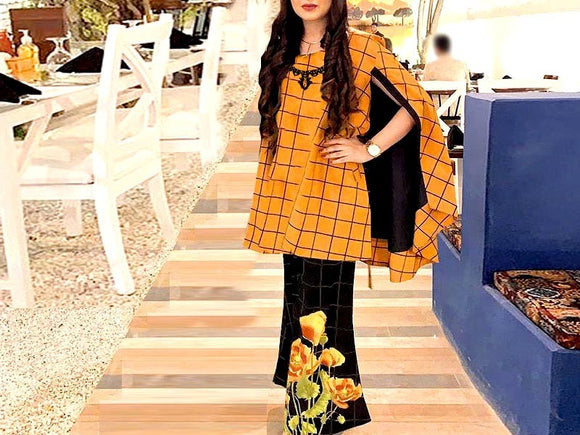 2-Pcs Embroidered Cotton Lawn Suit with Embroidered Trouser (DZ13763)