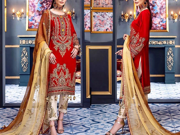Embroidered Red Chiffon Wedding Dress (DZ13765)