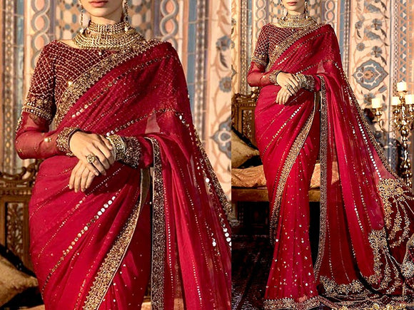 Heavy Embroidered Chiffon Saree with Inner (DZ13767)