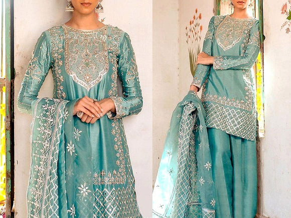 Mirror Work Embroidered Masoori Dress with Net Dupatta (DZ13771)