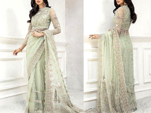 Heavy Embroidered Net Saree with Inner (DZ13772)