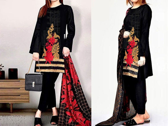 Heavy Embroidered Lawn Dress with Chiffon Dupatta (DZ13774)