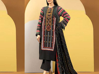 Embroidered Lawn Dress with Chiffon Dupatta (DZ13775)