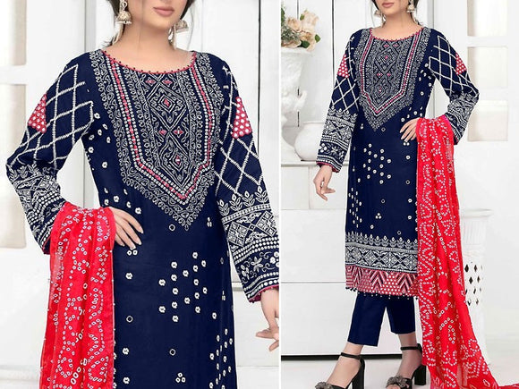 Mirror Work Embroidered Navy Blue Cotton Dress (DZ13778)