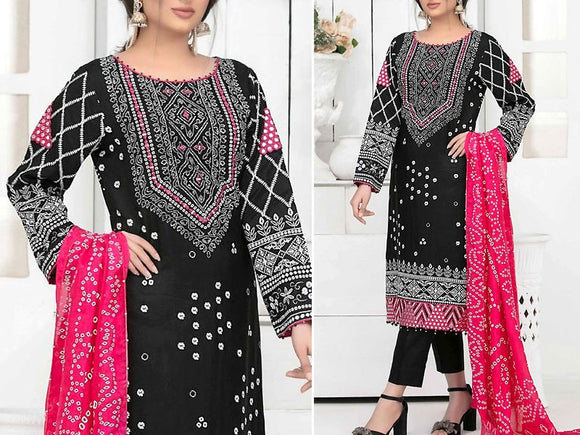 Mirror Work Embroidered Black Cotton Dress with Silk Dupatta (DZ13779)