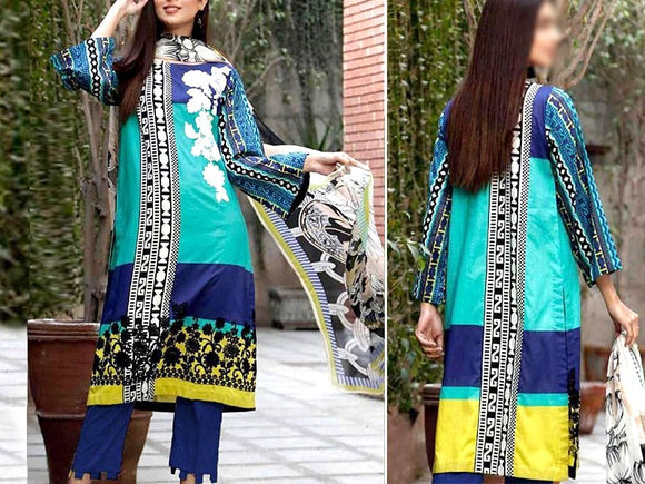 Embroidered Lawn Dress with Chiffon Dupatta (DZ13780)