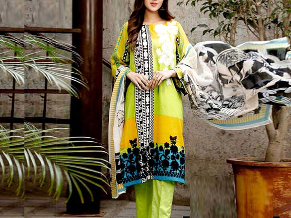 Embroidered Lawn Suit with Chiffon Dupatta (DZ13781)