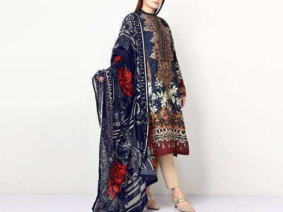 Embroidered Lawn Dress with Chiffon Dupatta (DZ13783)