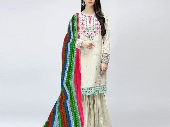 Embroidered Lawn Suit with Chiffon Dupatta (DZ13784)
